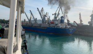 m/v Turkan ship in port. Tuapse port